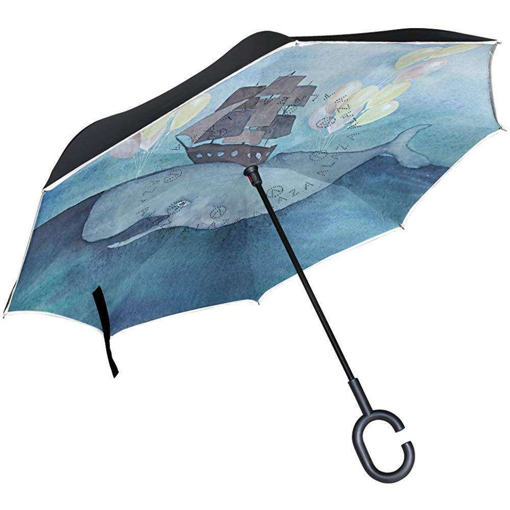 Merle House Paraguas invertido de Doble Capa de Barco de Ballenas ...