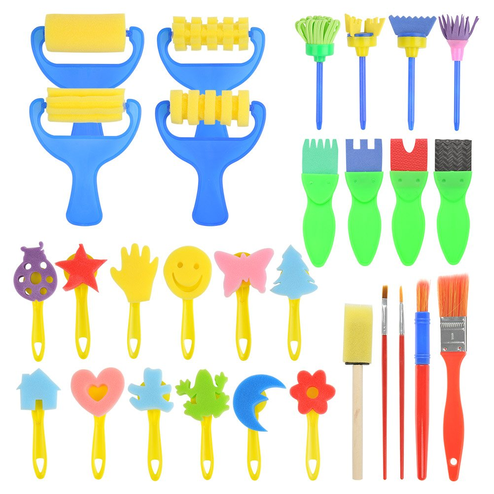 WOWOSS 29Pcs Early Learning Mini Flower Sponge Painting Brushes Craft Brushes Tools for Kids Painting Learning