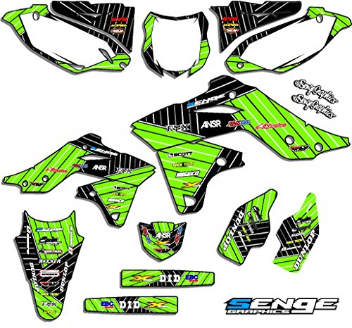 Senge Graphics kit compatible with Kawasaki 2010-2019 KLX110, Race Series Green Graphics Kit ()