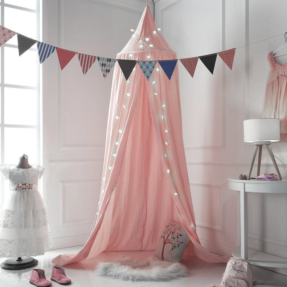 Children Bed Canopy, Baby Bedding Round Dome, Kids Princess Play Tent Hanging Cotton Mosquito Net, Nursery Decorations, Room Decoration for Kids (Pink) Newooe