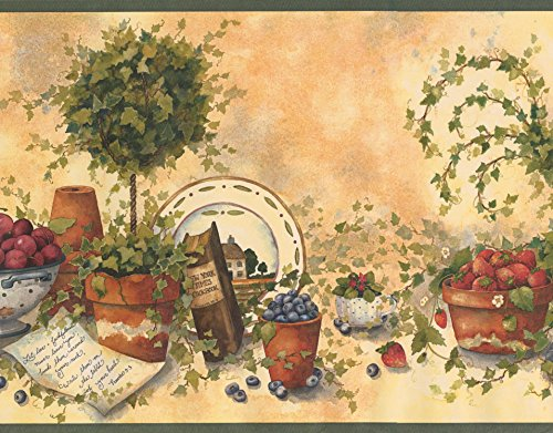Beige Green Red Blue Berries Fruits Food Kitchen Extra Wide Wallpaper Border Retro Design, Roll 15' x 10.5''