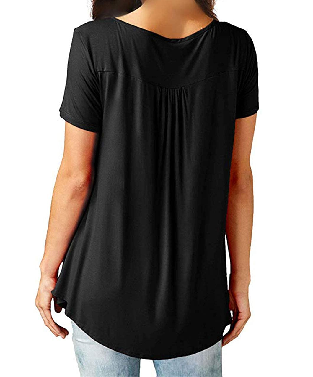 51c07de5f6 AMCLOS Womens Tops Summer V Neck T-Shirts Swing Ruffle Blouses Button up  Tunic Casual Flowy Loose Long Short Sleeve at Amazon Women s Clothing store