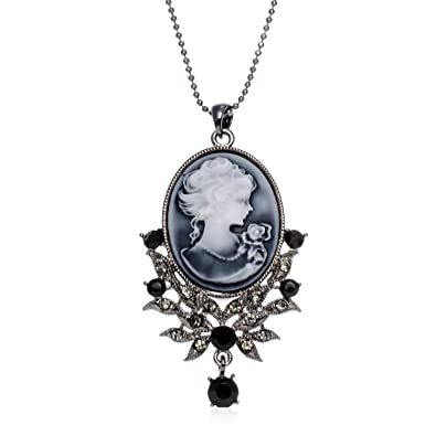 34331e5de8a06 PammyJ Cameo Pendant Necklace Darkened Silvertone with Black and Clear  Crystals, 17.5 inches