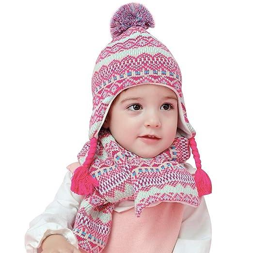 vivobiniya Baby Girl Hat and Scarf Set Toddler Girl Winter warn Hats 0-8Y ( 5ae0f70cf79