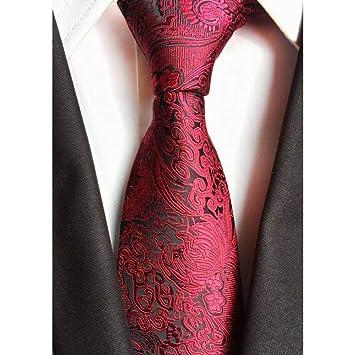 WOXHY Corbata Nuevo clásico 8 cm Paisley Tie Stripes Gris Rojo ...