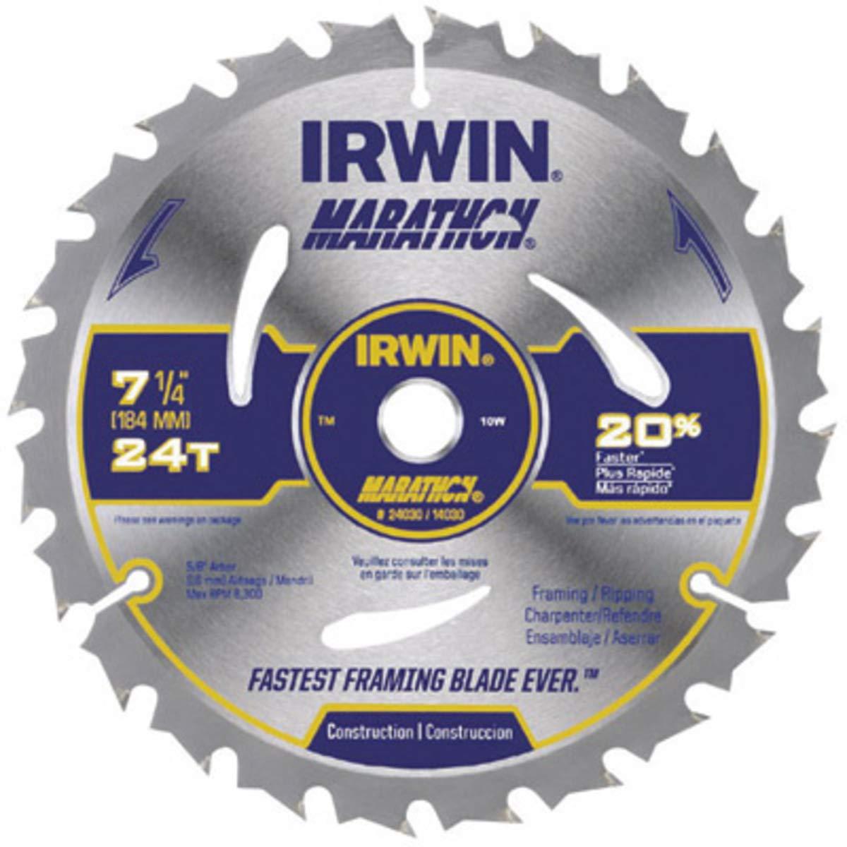 IRWIN 7 1/4'' X 5/8'' Diamond X .047'' 8300 RPM 24 Teeth ATB Grind Vise,Grip Marathon Carbide Tipped Portable Corded Circular Saw Blade (For Wood Cutting) (Carded),5 Each