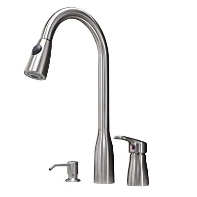Buy Hotis 3 Hole Pull Out Prep Sprayer Stainless Steel Single Handle Pull Down Kitchen Faucet Sink Faucet Brushed Nickel Kitchen With Side Single Handle And Soap Dispenser Online In Turkey B07vt191kf