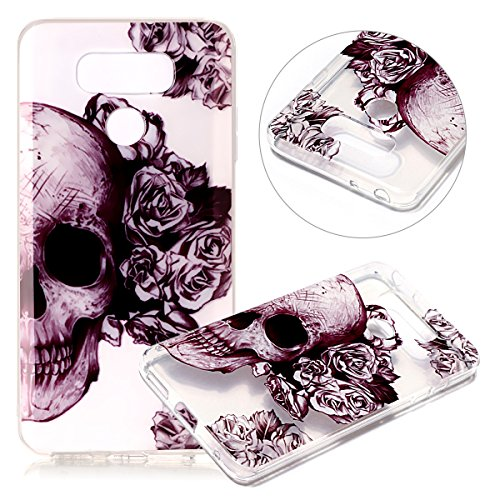 Price comparison product image LG G6 Case, LG G6 Plus Clear TPU Case,PHEZEN Cool Flower Skull Design Ultra Thin Anti-Scratch Flexible TPU Gel Rubber Soft Skin Silicone Protective Case Cover For LG G6/G6 Plus