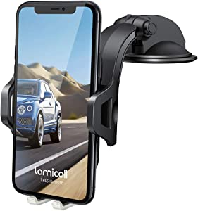 Dashboard Car Phone Mount - Lamicall Dash Mount Cell Phone Holder Stand for Car with Strong Suction Cup, Compatible with iPhone 11 Pro Xs Max XR X 8 7 6 Plus, 4-6.5'' Phones