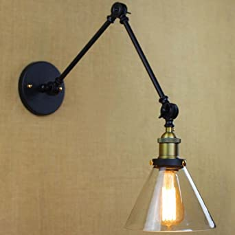 BAYCHEER HL409847 Industrial Vintage Style Adjustable Swing Arm Wall Sconce  Wall Light Lamp In Matte Black