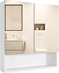 Homfa Bathroom Wall Mirror Cabinet with Double Doors and Adjustable Shelf, 20.9 X 22.8 Inch Wooden Medicine Cabinet Multipurpose Storage Organizer Kitchen Cupboard, Cream
