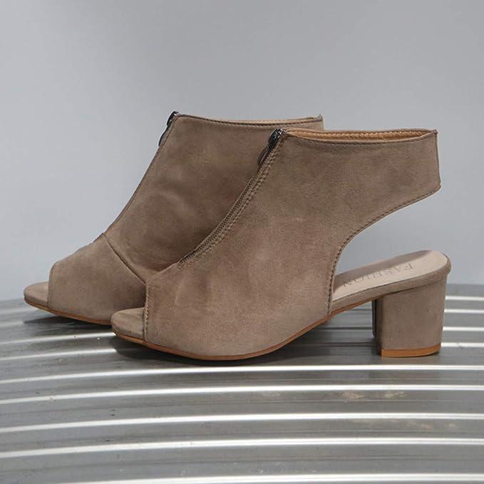 Kinlene Sandalias Zapatillas Zapatos de tacón Women Fashion Flock Thick High Heel Zip Solid Sandals Peep Toe Casual Shoes: Amazon.es: Ropa y accesorios