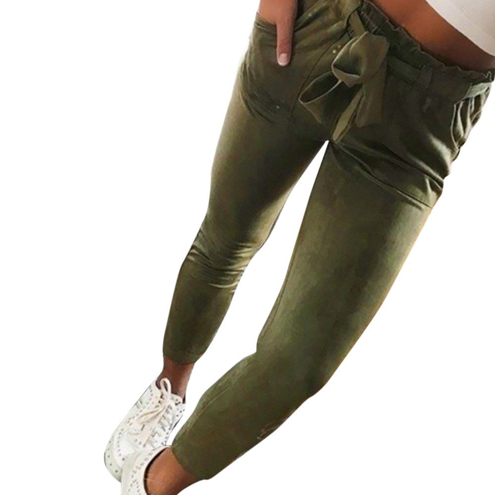 OWMEOT Women's Slim Straight Leg Stretch Casual Pants with Pockets (Army Green, L)