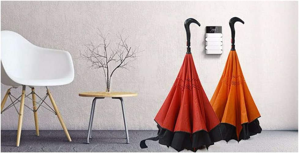Hiking 2-in-1 Walking Sticks Umbrella Hanging Out on Raining,Orange Crutches Free-Standing Double-Decker Reverse Umbrella Used for Climbing