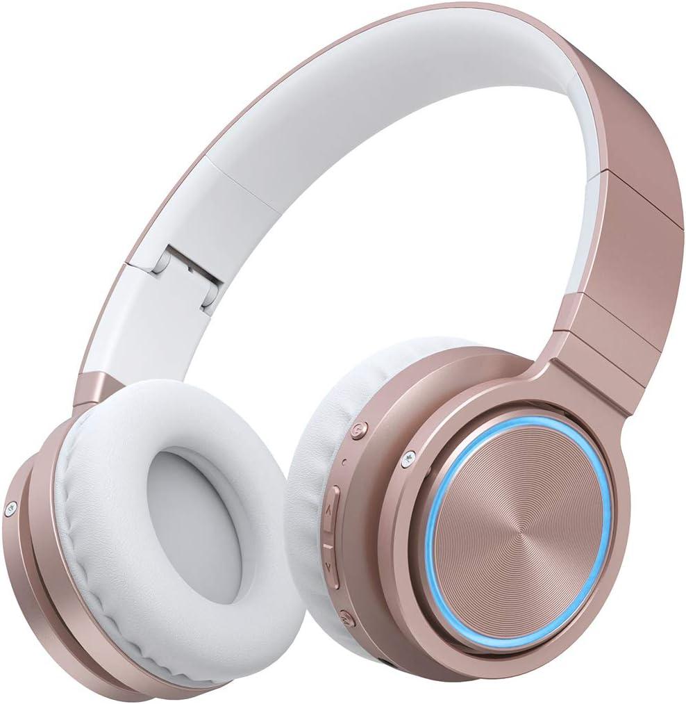PICUN Auriculares inalámbricos Bluetooth con luz LED y micrófono, 25 horas de reproducción plegables, modo TF / con cable (oro rosa)