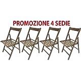 4 sedie pieghevole sedia birreria in legno noce richiudibile per campeggio casa