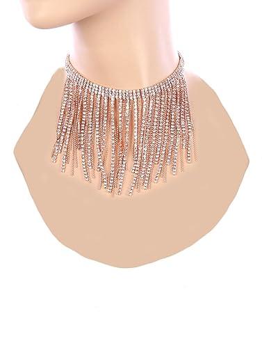 Amazoncom Fashion Jewelry Rhinestones Fringe Rose Goldtone