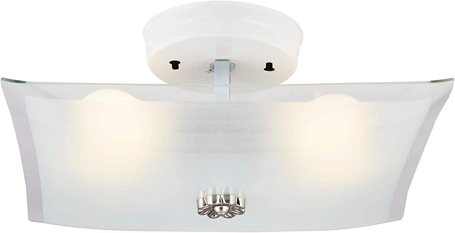 NOMA Flush Mount Light Fixture | Ceiling Light with 60 W is Perfect for Your Bedroom, Kitchen, Hallway or Dining Room | White Glass
