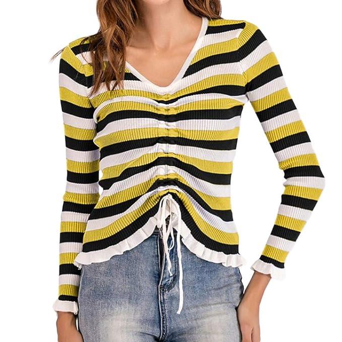 OSYARD Chaqueta Sudadera Mujeres, Mujeres otoño Invierno Suéter de algodón a Rayas Lazo Blusa Jersey con Cuello en v Manga Larga Camiseta Tops Cortos ...