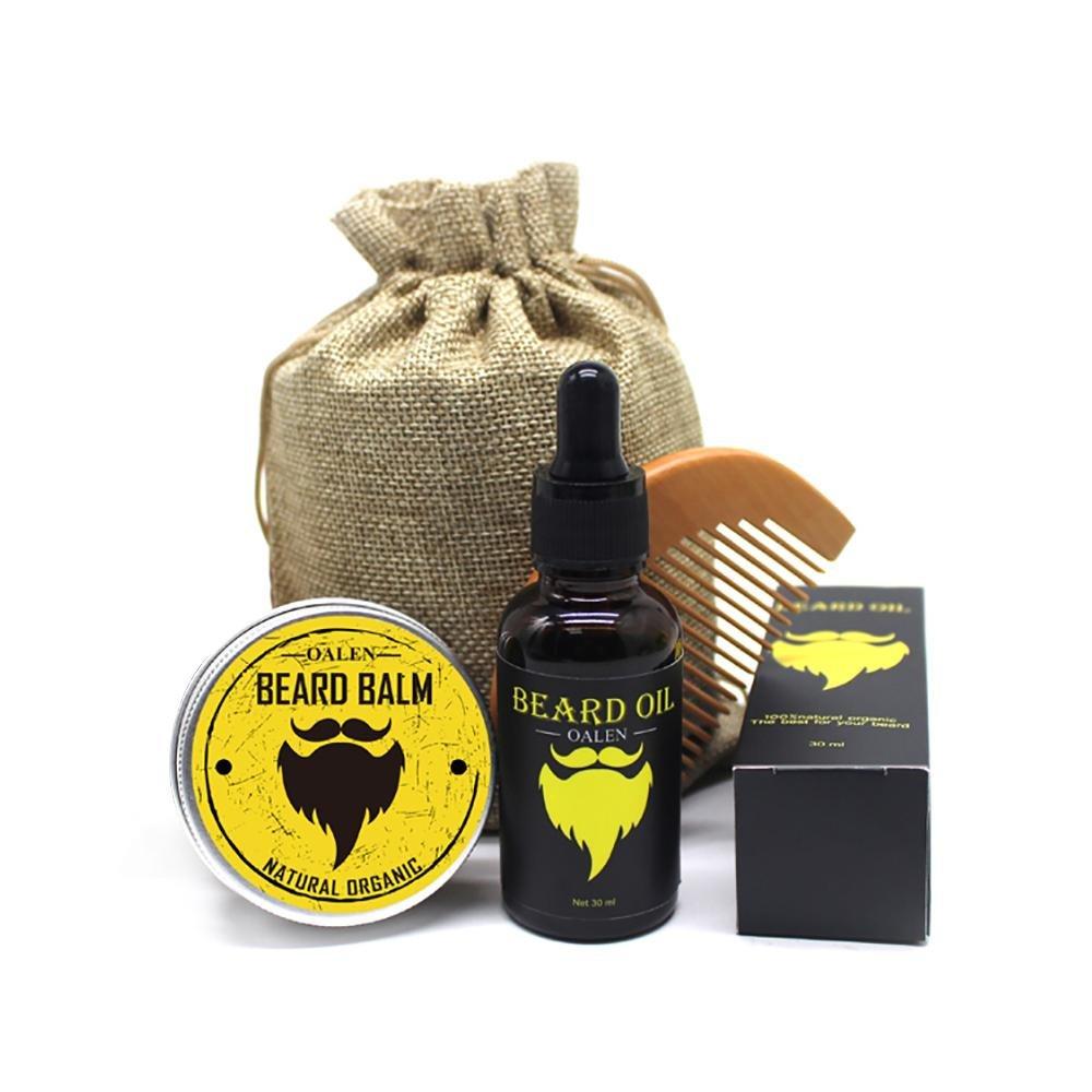 Beard Care Kit for Men - 4 Pieces, Beard Comb + Natural Beard Balm (30g) + Beard Oil (30ml) + Travel Bag, Ideal Set for Home and Travel Kobwa