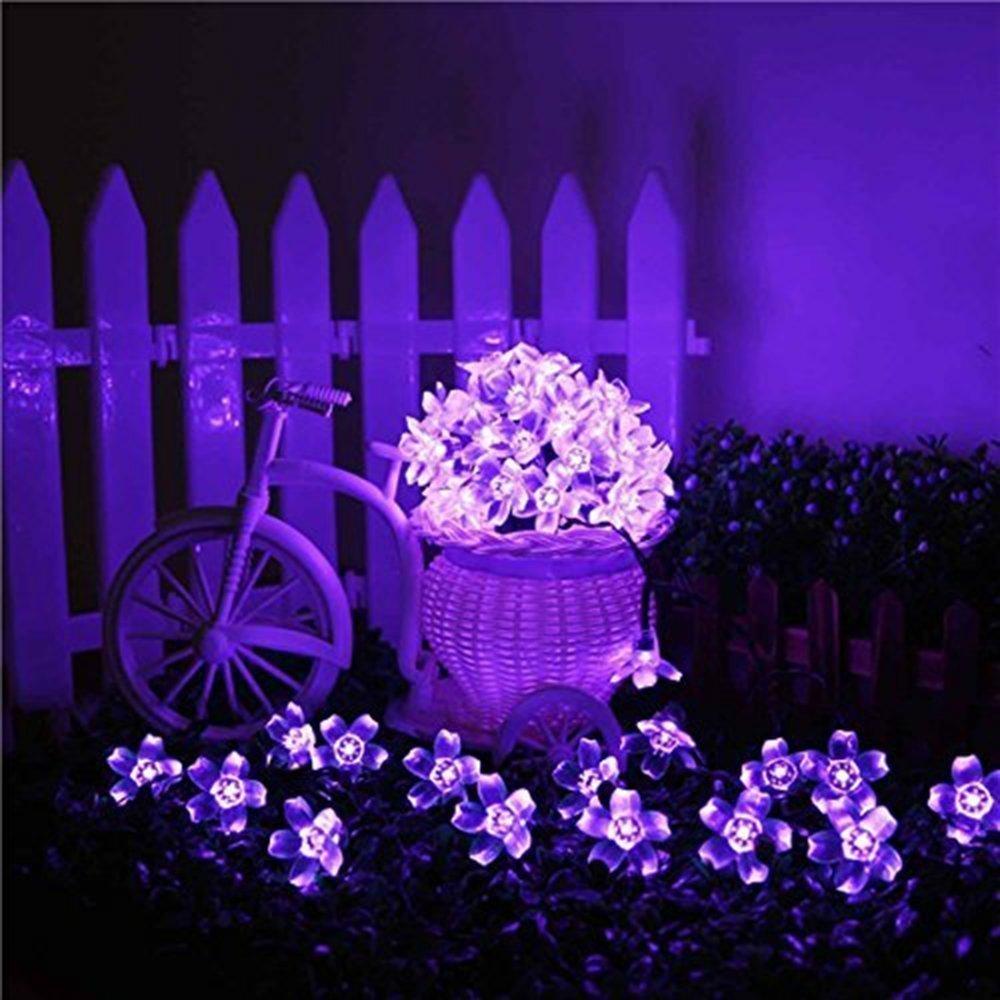 kyson 50er LED luce solare catena fiori giardino esterno viola 5meter, fiori illuminazione solare per Party, Natale, Outdoor, Fest Deko ecc. Haichen CDH001-purple