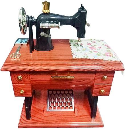 Fornateu Tabla máquina de Coser Mini Caja de música Retro de Costura Caja de música mecánica Regalo decoración del hogar: Amazon.es: Hogar
