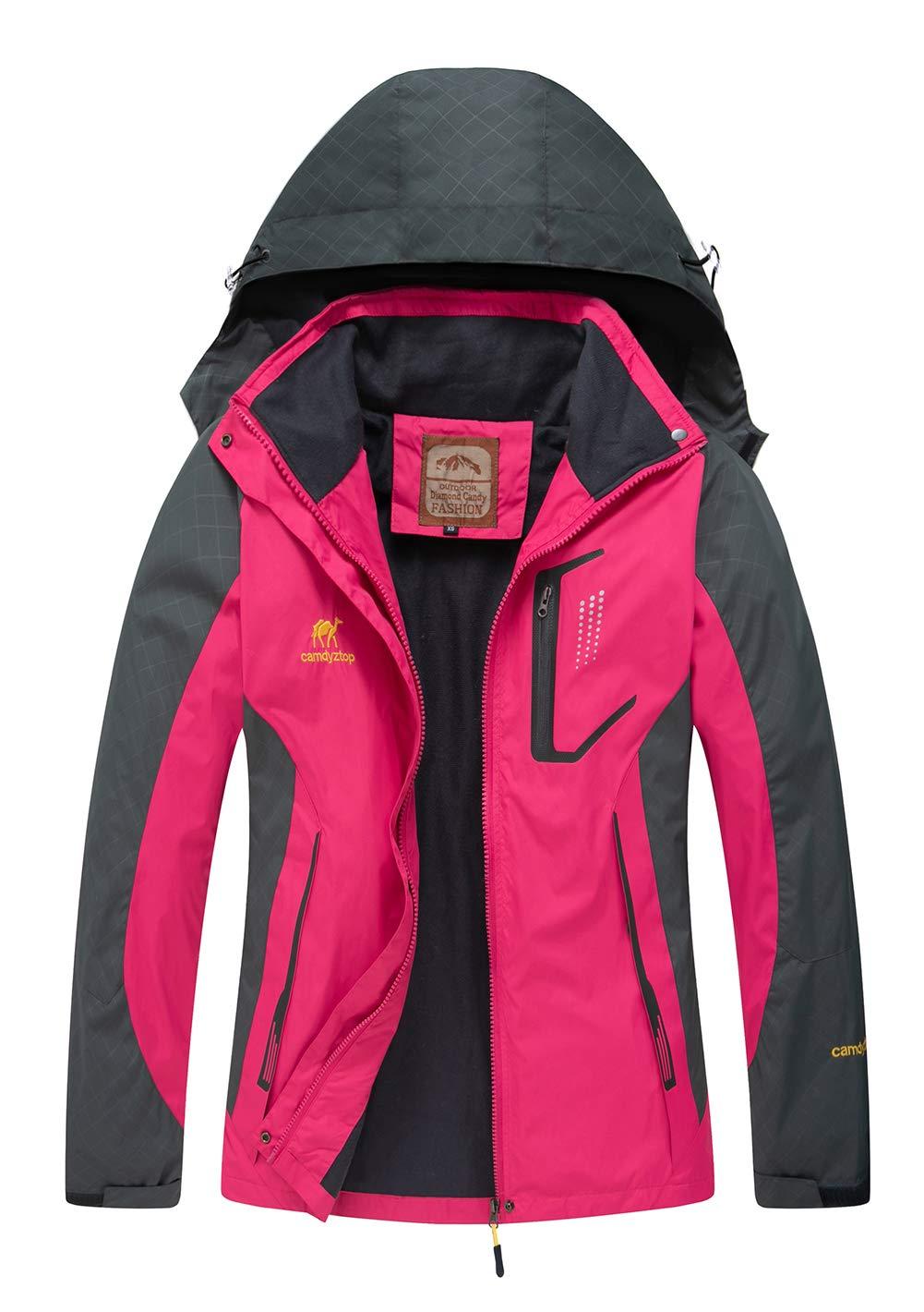 Hot Pink Diamond Candy Hooded Waterproof Jacket Softshell Women Sportswear