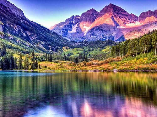 Maroon Bells Lake at Sunrise, Colorado - Oil Painting On Canvas Modern Wall Art Pictures For Home Decoration Wooden Framed (12X16 Inch, Framed) (Colorado Pictures)