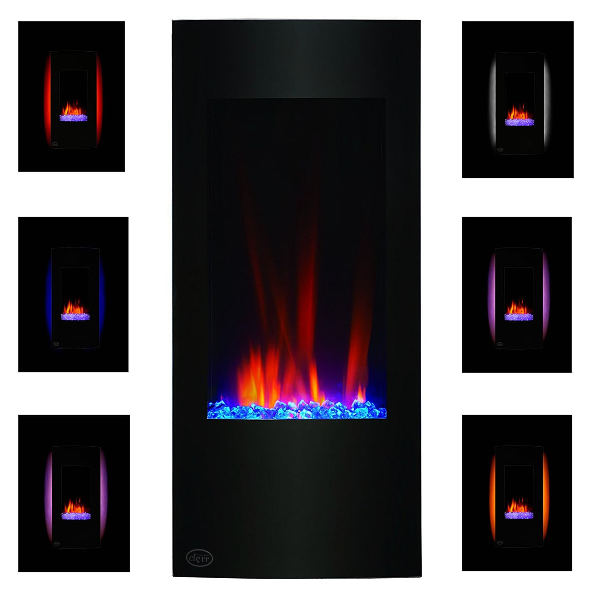 Clevr 750-1500W 32'' Vertical Electric Wall Mount Fireplace Heater, Adjustable Back Light Color, Decorative Crystals, CSA and UL Certified