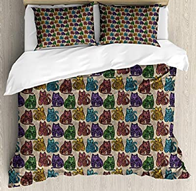 Hedda Clare Quilt setColorful Cats Duvet Cover Set1 Duvet Cover + 2 Pillow Shams