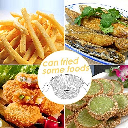 Cesta de acero inoxidable portátil para frigoríficos, alas de pollo, cesta de aperitivos plegable, cesta de vapor profundo, cesta de freír, cesta de acero ...