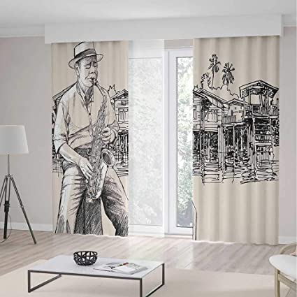 Window Curtains BlackoutJazz Music For Bedroom Living Dining Room Kids Youth RoomArt