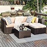 Wisteria Lane 5 Pcs Outdoor Furniture Set, Patio Sectional Sofa Couch Wicker Conversation Set with Ottoma Glass Table Brown Wicker, Beige Cushions