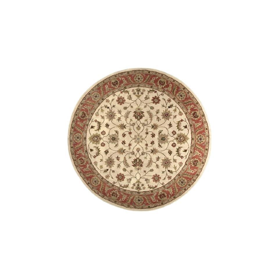 8 Fresnillo Raw Sienna Orange and Khaki Green Wool Round Area Throw Rug