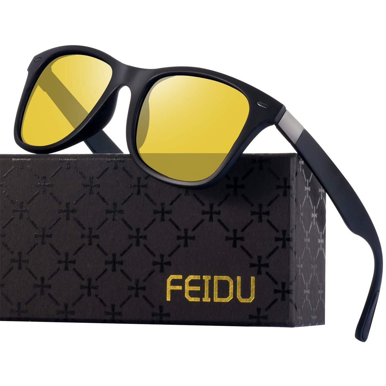 Polarized Sunglasses for Men Retro - FEIDU Polarized Sunglasses for Men Sunglasses Man FD2150 (yellow) by FEIDU