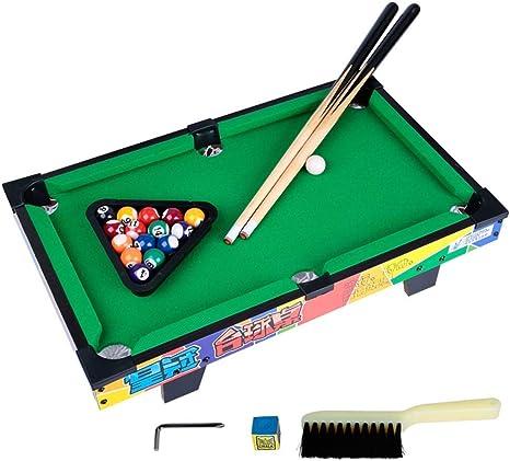 WJSWHW El Juego de Billar Mini Tabletop Pool Set Incluye Bolas de Juego, Palos, tizas, Pinceles y triángulos. Portátil y Divertido para Toda la Familia.: Amazon.es ...