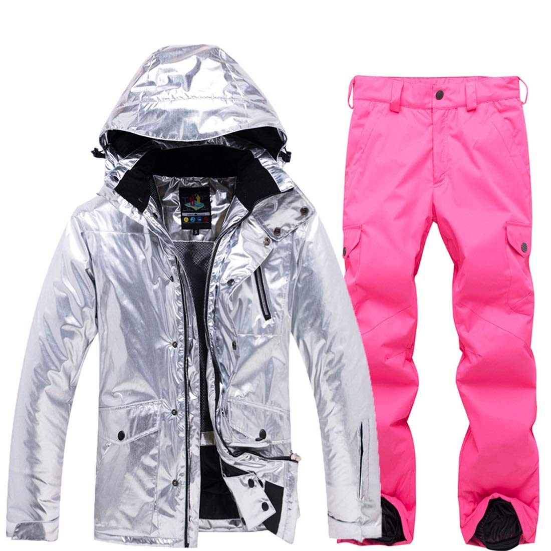 ALICESHOP 女性のスキー スーツ スノーボード防水防風スノー ジャケットとパンツ雨雪屋外ハイキングS-XL (色 : ピンク, サイズ : S) ピンク Small