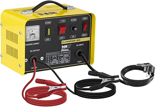 MSW S-Charger-20A Caricabatterie Mantenitore di Carica 12//24V, A 12-200 Ah, 230 V, 0,5 kW, per batterie al Piombo Acido,Nero Opaco//Rosso Lucido, Display analogico