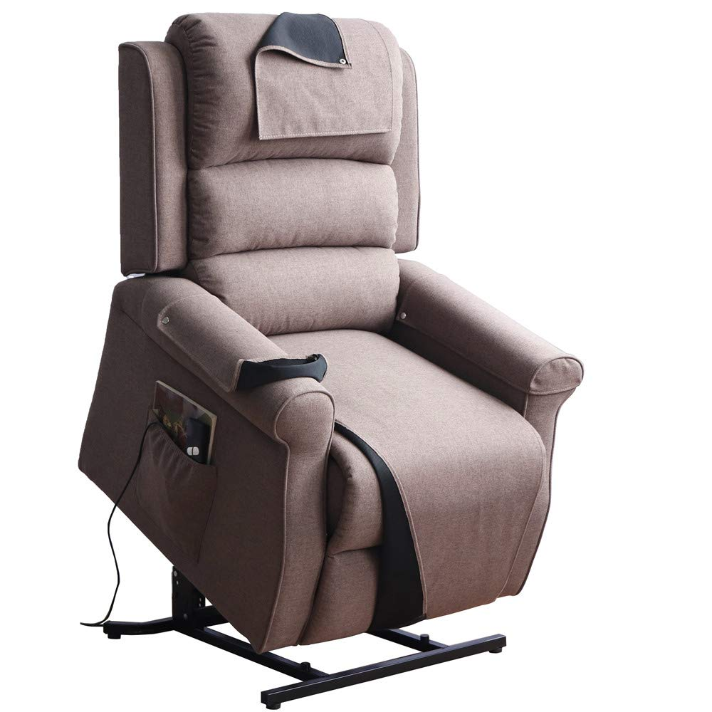 Irene House Power Modern Transitional Lift Chair Recliners with Soft Linen(Brushed ) Fabric (Brown) by Irene House