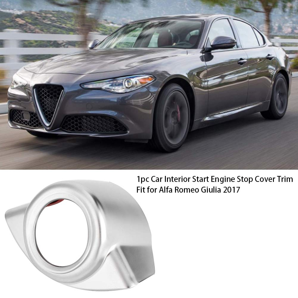 1pc Car Interior Start Engine Stop Cover Trim Fit for Alfa Romeo Giulia 2017 Suuonee Start Engine Cover Trim Silver