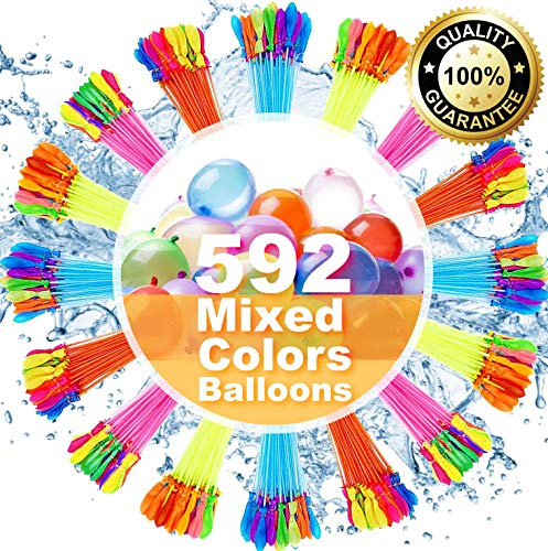🥇 Water Balloons for Kids Girls Boys Balloons Set Party Games Quick Fill 592 Balloons 16 Bunches for Swimming Pool Outdoor Summer Fun XC20