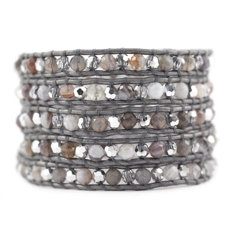 Chan Luu Botswana Agate Wrap Bracelet/Grey Leather- BS-3008