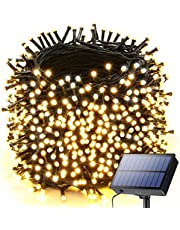 LED Fairy Lights String Warm White - 50 Meters 500 LEDs Lights Strand Solar Powered Outdoor Indoor, 50m Waterproof Solar String Lights for Christmas Wedding Party Garden Tree Decor