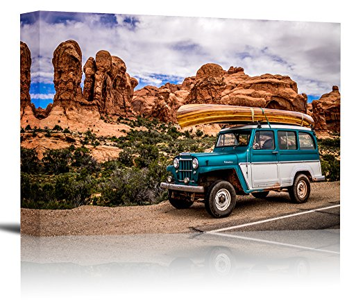 Willys Jeep Wagon - 1962 Willys Overland Jeep Wagon Art Print Wall Decor Image - Canvas Stretched Framed 24 x 36 - L