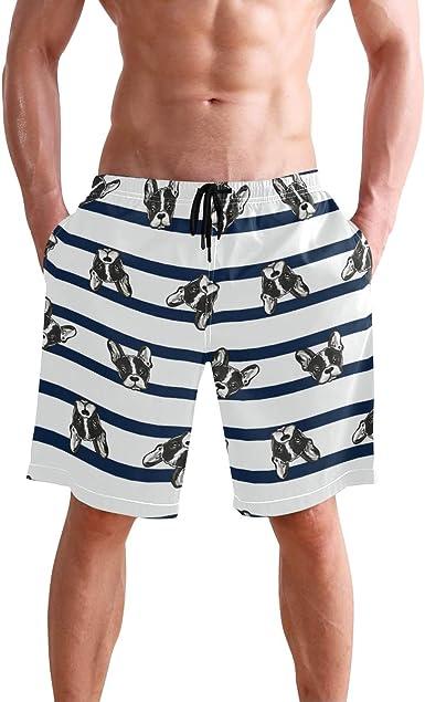 Mens Swim Trunks Dog Head Quick Dry Beach Board Shorts with Mesh Lining