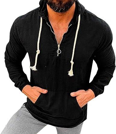 Unko Mens Tops Shirt Ethnic Print Long Sleeve Hood Sweatshirt Pullover Top