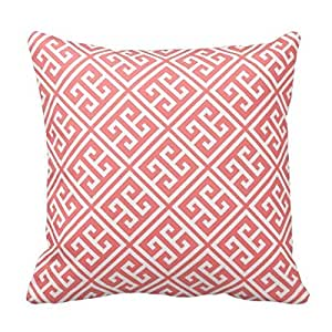 MARCOMAX Sofa Pillow Case Coral Greek Key Pattern Throw Cushion Cover
