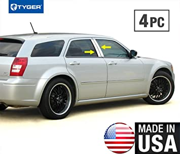 Works With 05-2010 Dodge Charger 6 PC Stainless Steel Chrome Pillar Post Trim Made in USA