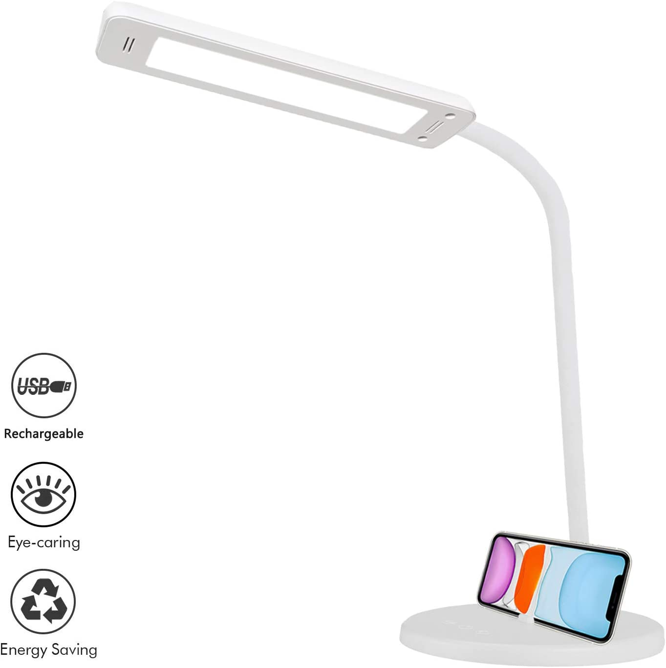 Lámpara de Escritorio LED, QueenDer Flexo de Mesa USB Recargable-2500mAh Plegable Luz Control Táctil 5 * 5 Modos de Brillo Regulable Para Leer, Estudiar-Blanco