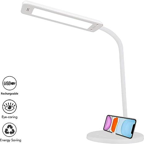 Lámpara de Escritorio LED, QueenDer Flexo de Mesa USB Recargable ...